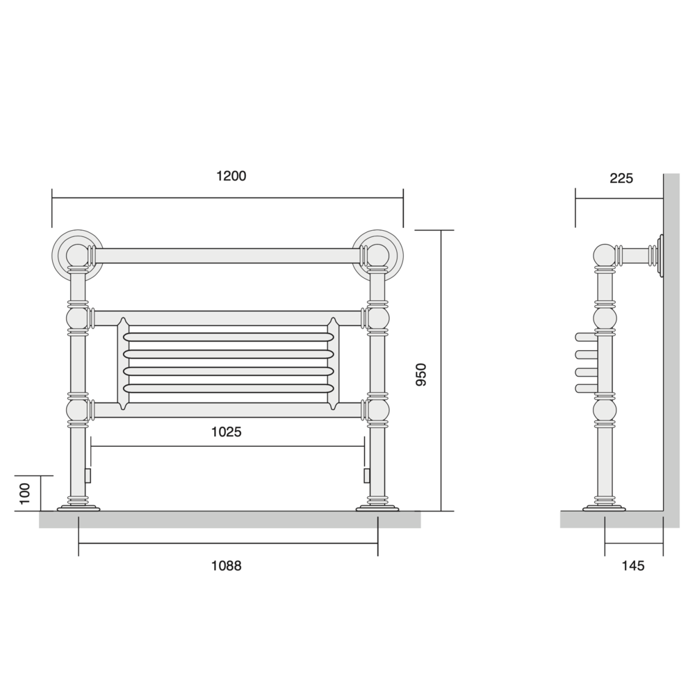 Bard & Brazier B&B Klassieke handdoekradiator Baronial BGF95/120 - 1224W