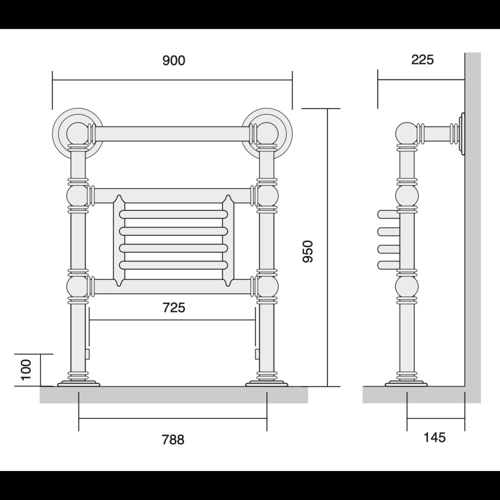 Bard & Brazier B&B Klassieke handdoekradiator Baronial BGF95/90 - 896W