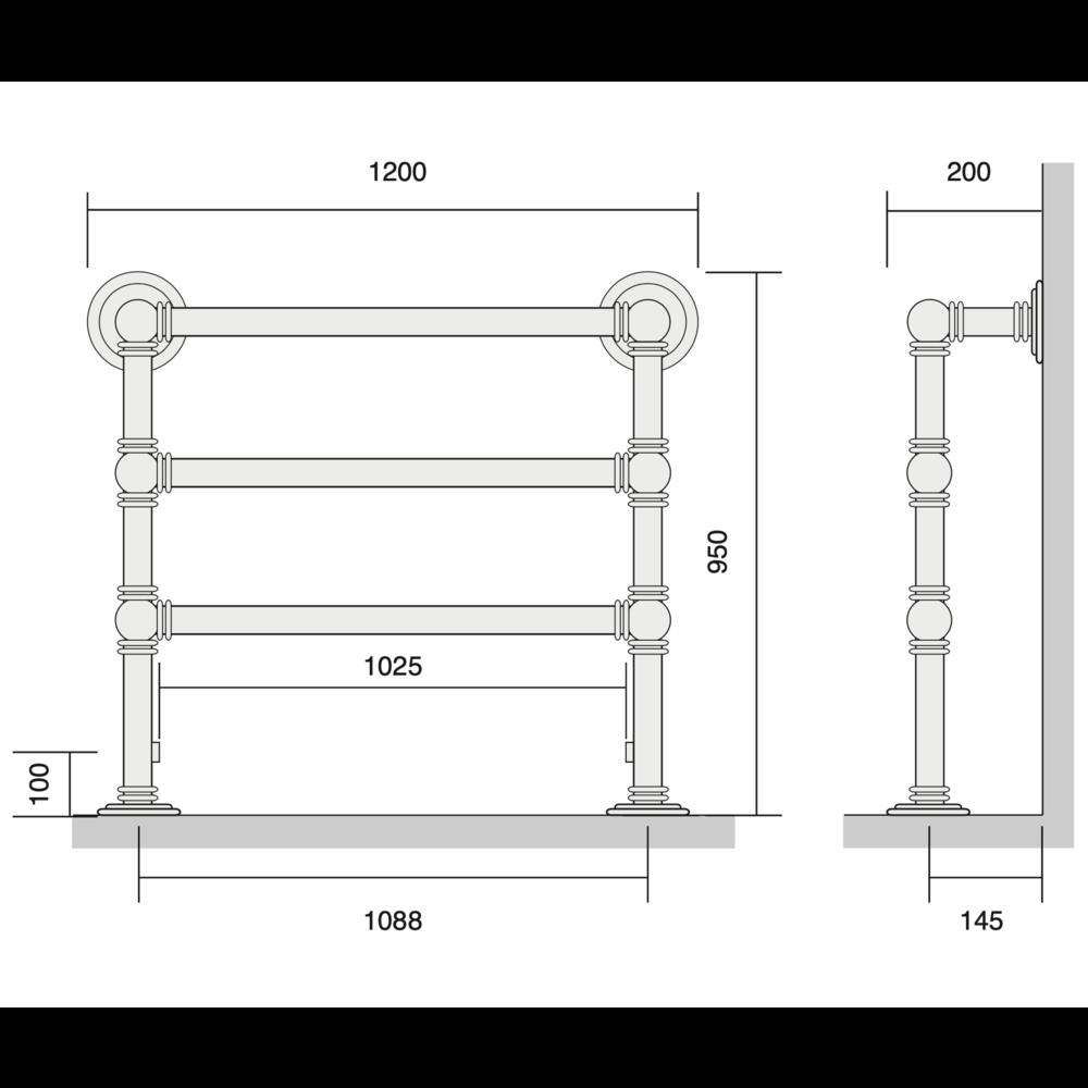 Bard & Brazier B&B Klassieke handdoekradiator Baronial BRF95/120 - 690W