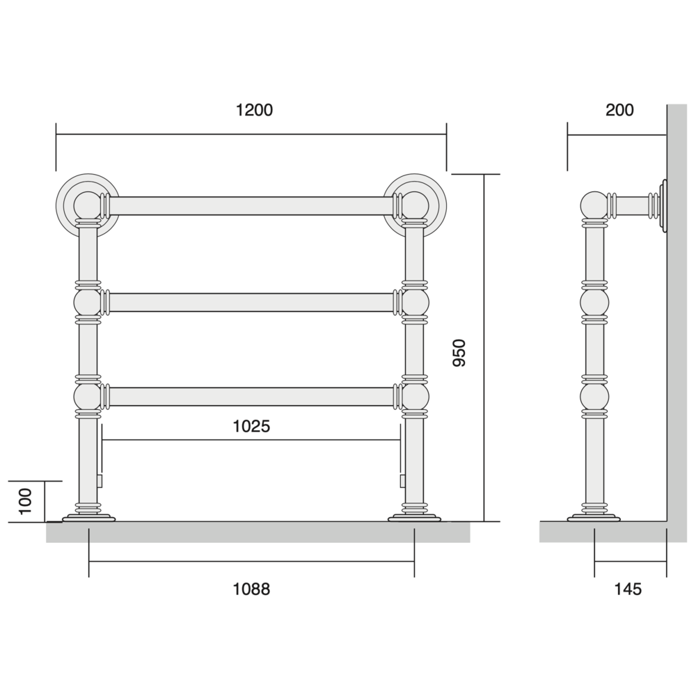 Bard & Brazier B&B Traditional towel rail Baronial BRF95/120 - 690W