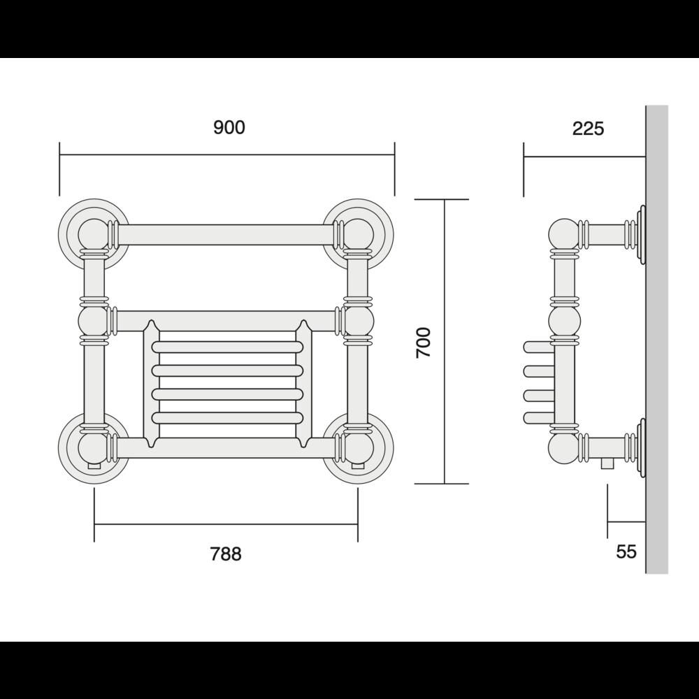 Bard & Brazier B&B Klassieke handdoekradiator Baronial BGW70/90 - 896W