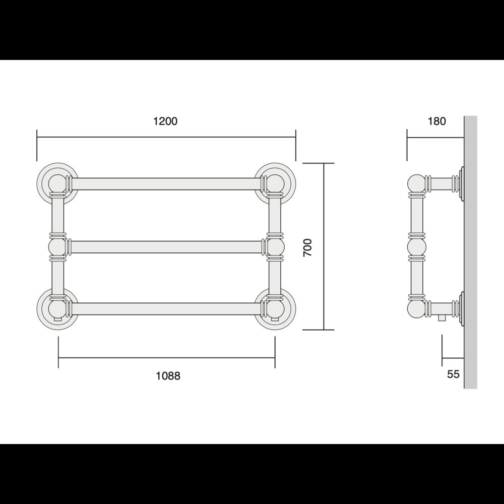 Bard & Brazier B&B Klassieke handdoekradiator Baronial BRW70/120 - 690W