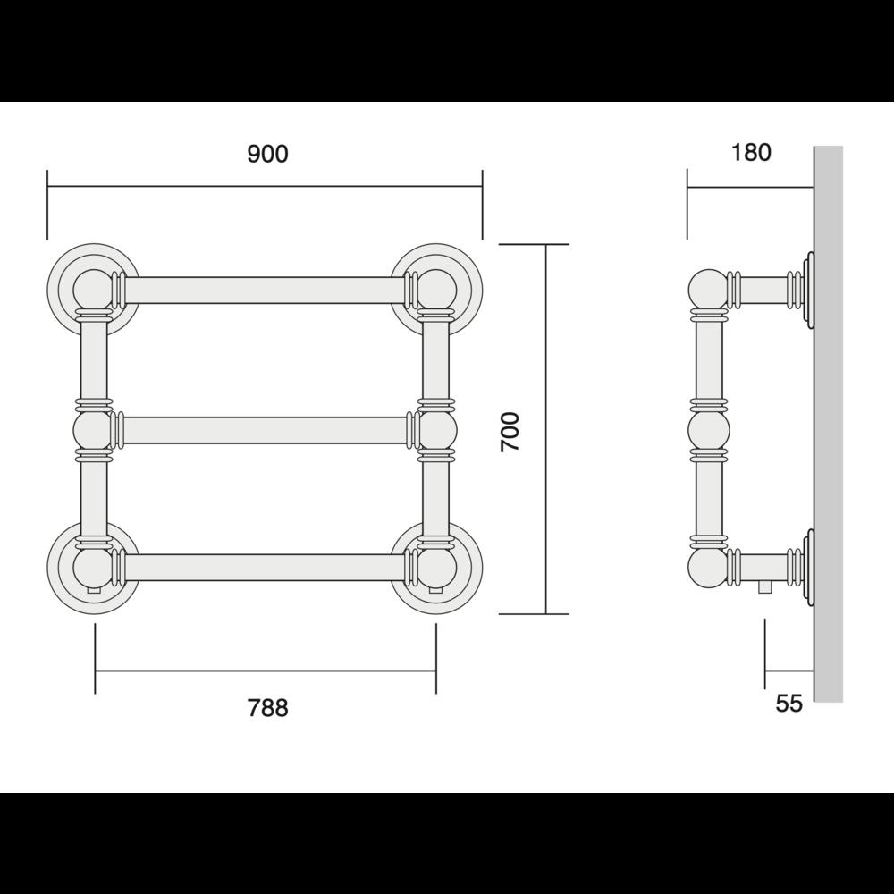 Bard & Brazier B&B Klassieke handdoekradiator Baronial BRW70/90 - 520W
