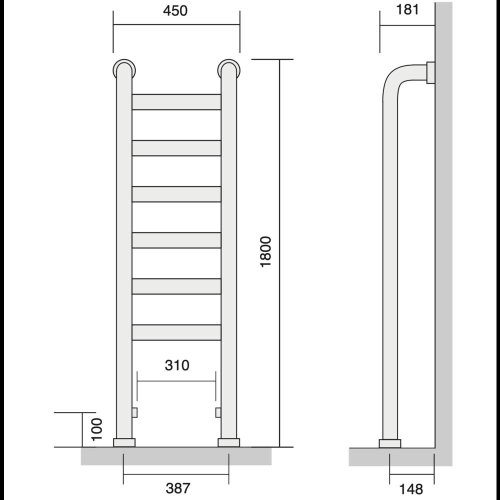 Bard & Brazier B&B Klassieke handdoekradiator St Leger SLF180/45 - 1189W