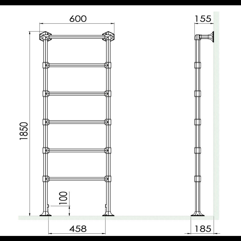 Bard & Brazier B&B Classical 6 bar towel warmer Criterion CTF185/60 - 546W
