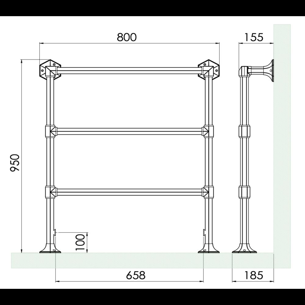 Bard & Brazier B&B Klassieke 3-bar handdoekradiator Criterion CTF95/80 - 326W