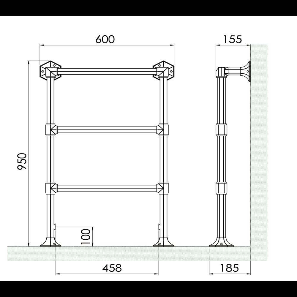 Bard & Brazier B&B Klassieke 3-bar handdoekradiator Criterion CTF95/60 - 283W