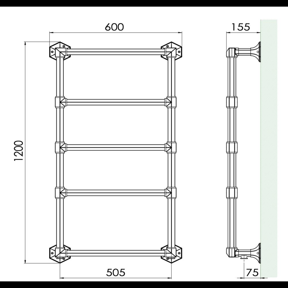Bard & Brazier B&B Classical 5 bar towel warmer Criterion CTW120/60 - 426W