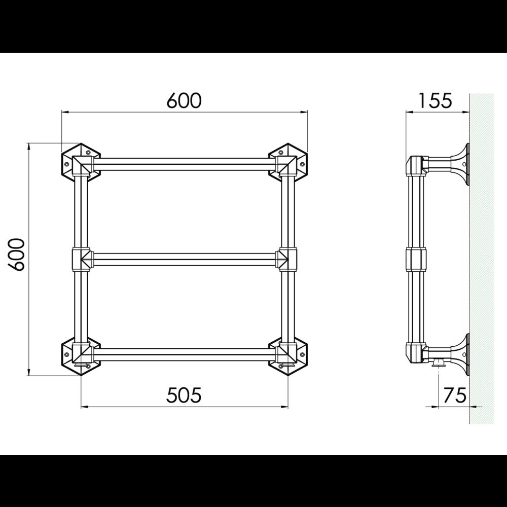 Bard & Brazier B&B Classical 3 bar towel warmer Criterion CTW60/60 - 254W