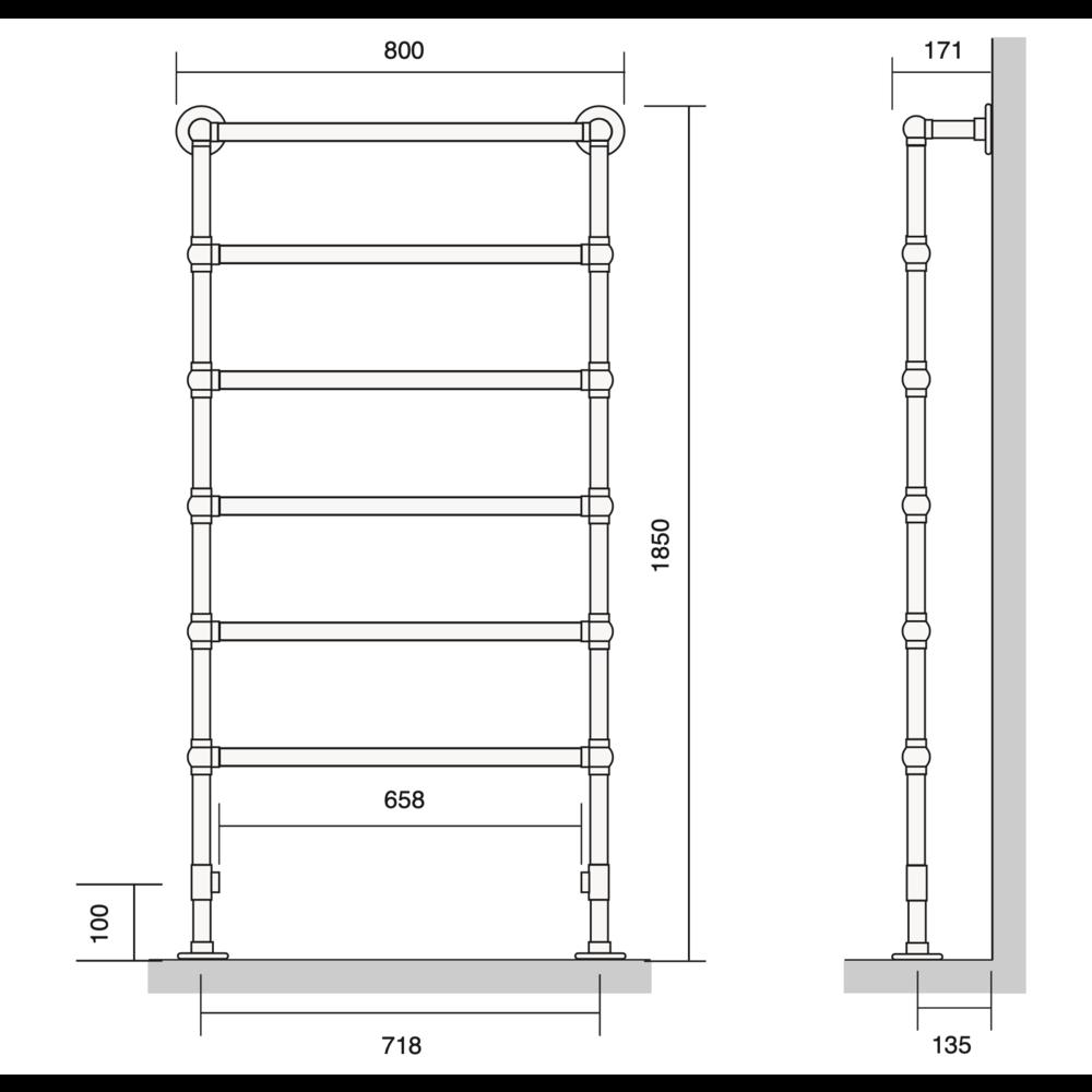 Bard & Brazier B&B Klassieke handdoekradiator La Fayette LFF185/80 - 610W