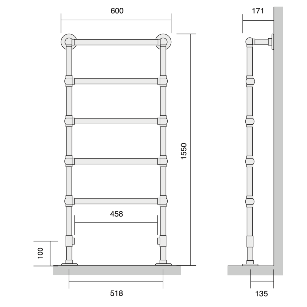 Bard & Brazier B&B Klassieke handdoekradiator La Fayette LFF155/60 - 442W