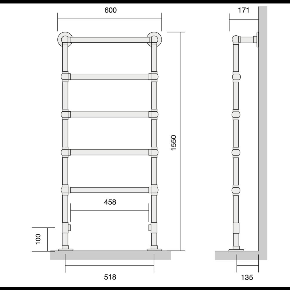 Bard & Brazier B&B Traditional towel rail  La Fayette LFF155/60 - 442W