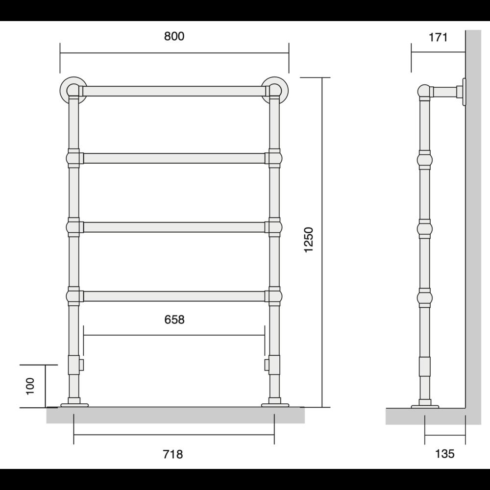 Bard & Brazier B&B Klassieke handdoekradiator La Fayette LFF125/80 - 387W