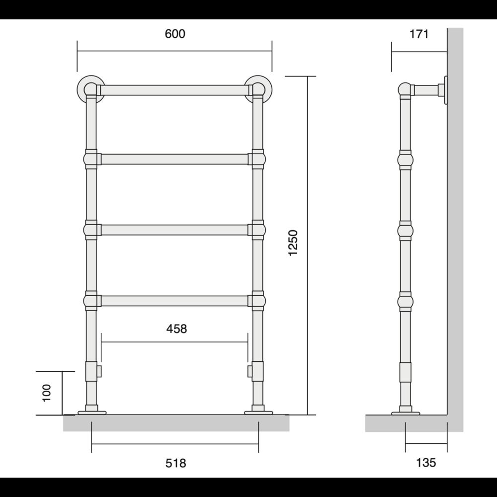 Bard & Brazier B&B Klassieke handdoekradiator La Fayette LFF125/60 - 351W