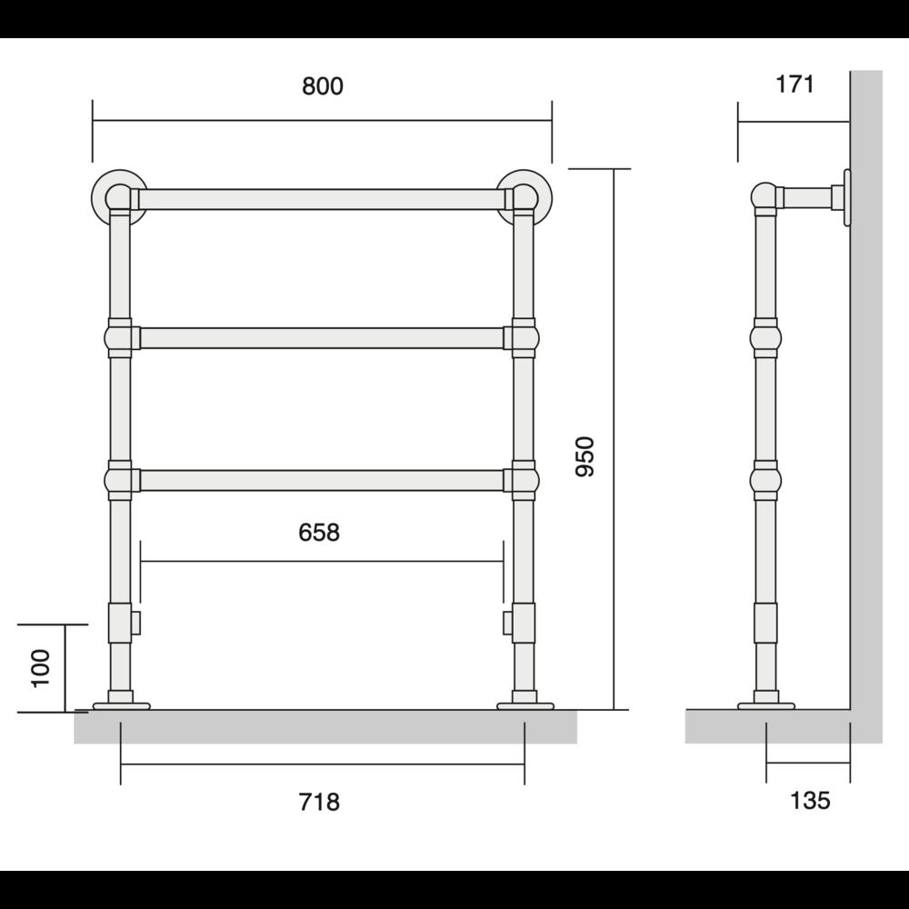 Bard & Brazier B&B Klassieke handdoekradiator La Fayette LFF95/80 - 325W