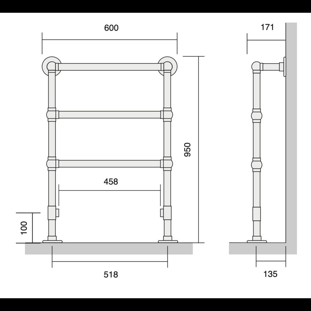 Bard & Brazier B&B Klassieke handdoekradiator La Fayette LFF95/60 - 260W