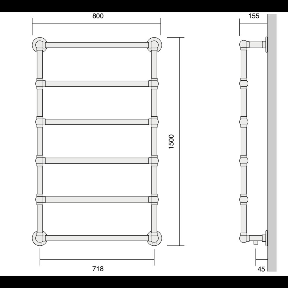 Bard & Brazier B&B Klassieke handdoekradiator La Fayette LFW150/80 - 584W