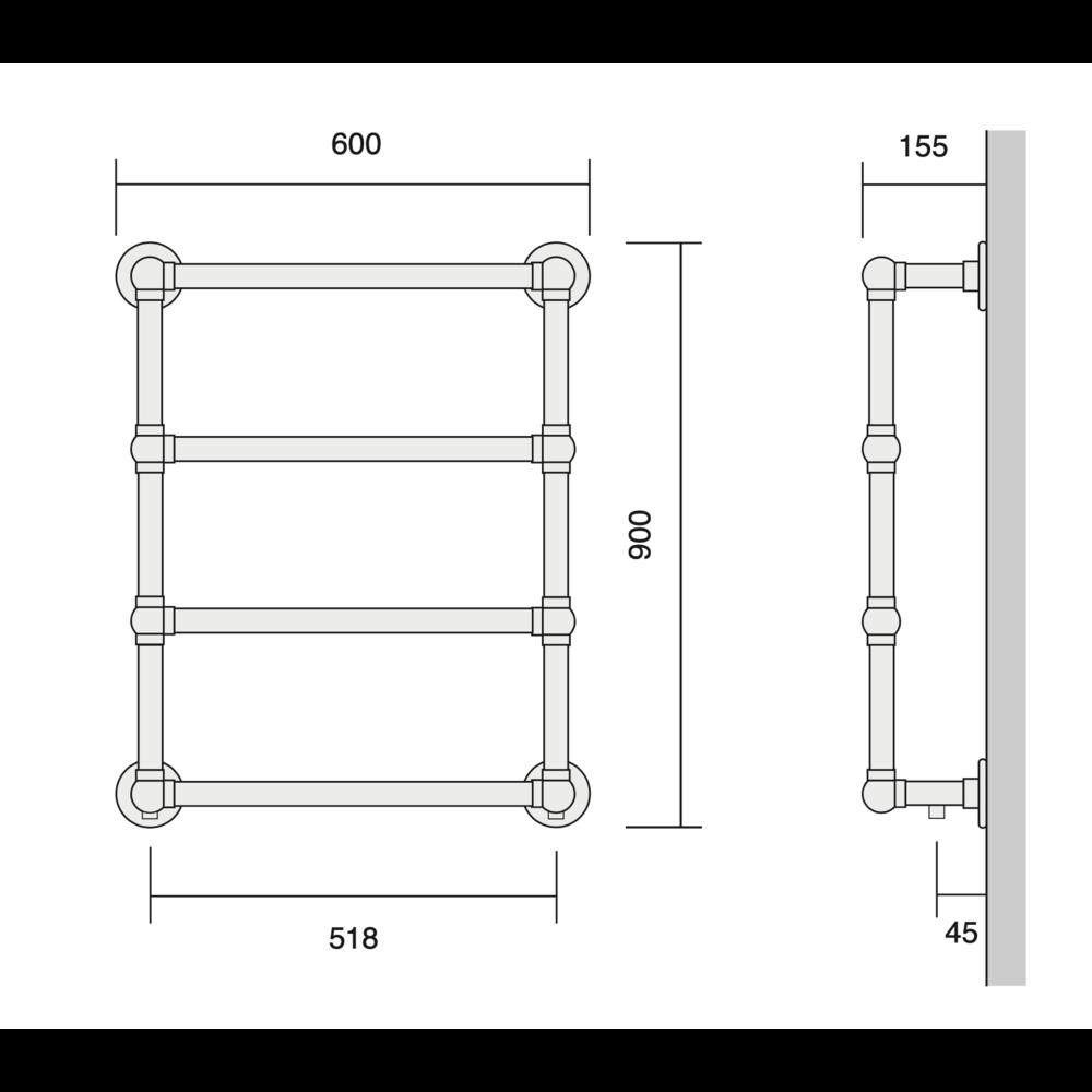 Bard & Brazier B&B Klassieke handdoekradiator La Fayette LFW90/60 - 297W