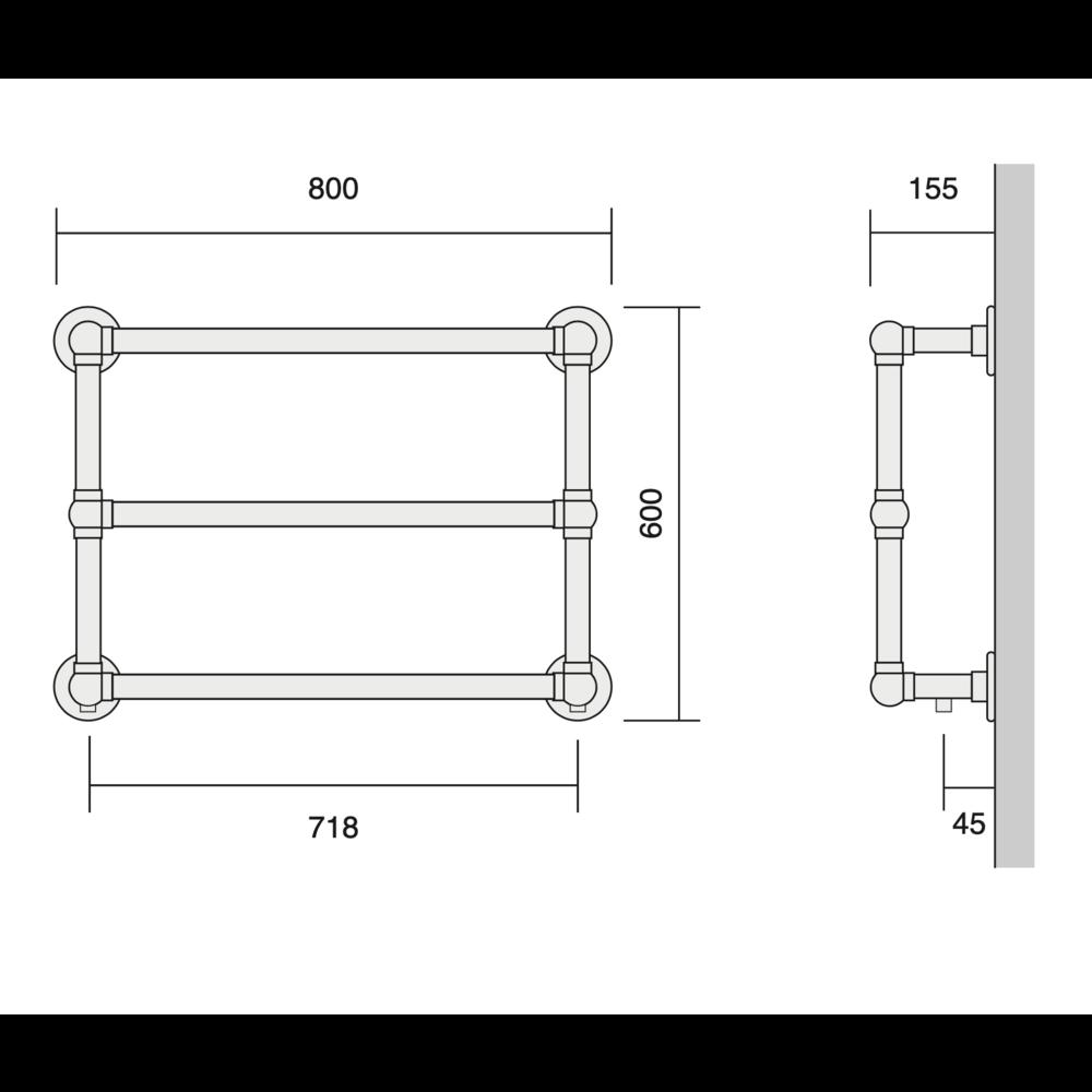 Bard & Brazier B&B Klassieke handdoekradiator La Fayette LFW60/80 - 271W
