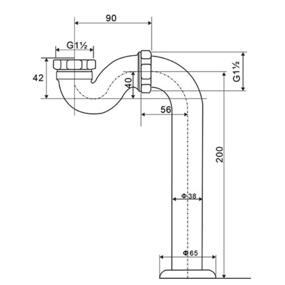 Arroll Badsifon en vloerafvoer buis met rozet ARB-1053