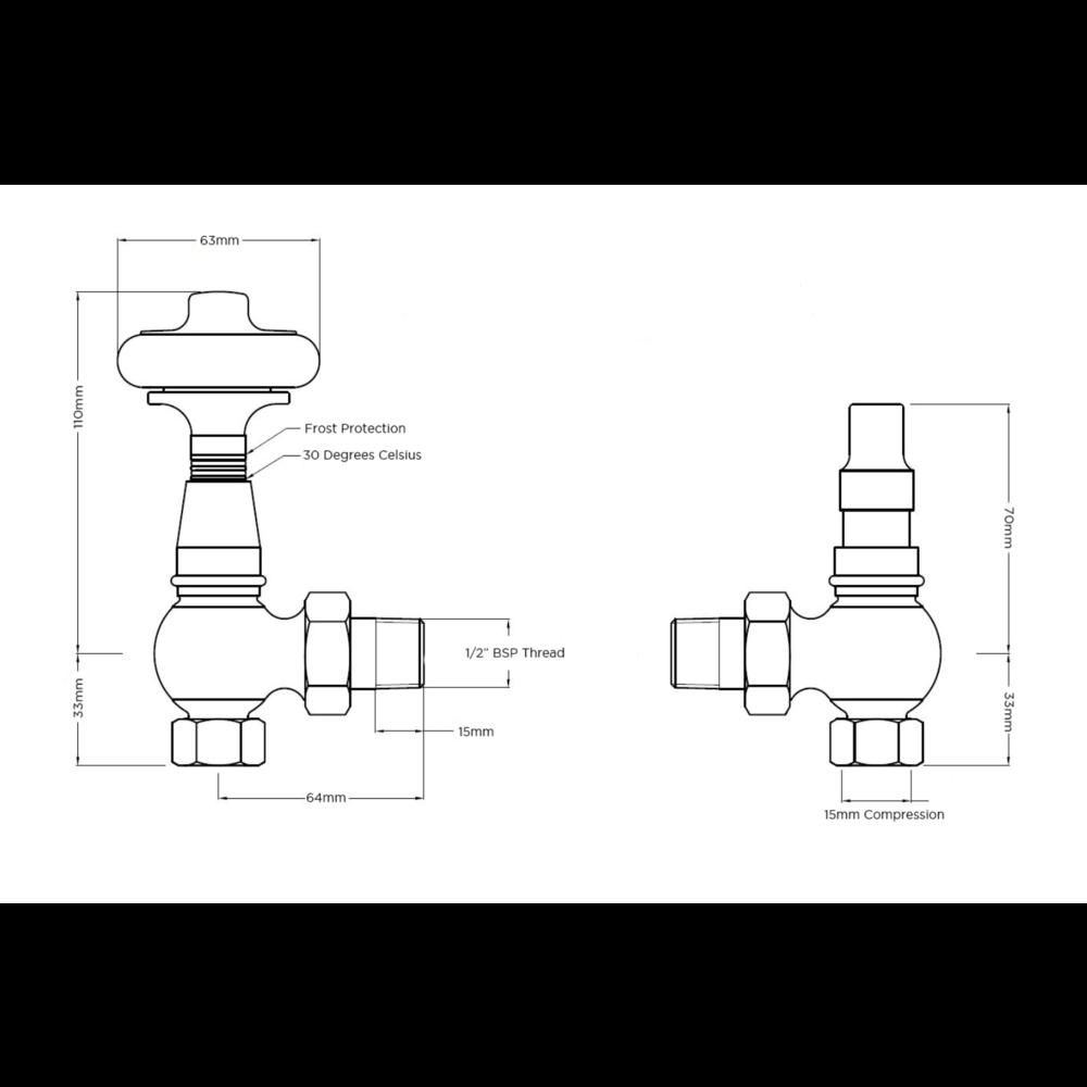 Arroll Thermostatische radiatorkraan met houten draaiknop UK-28