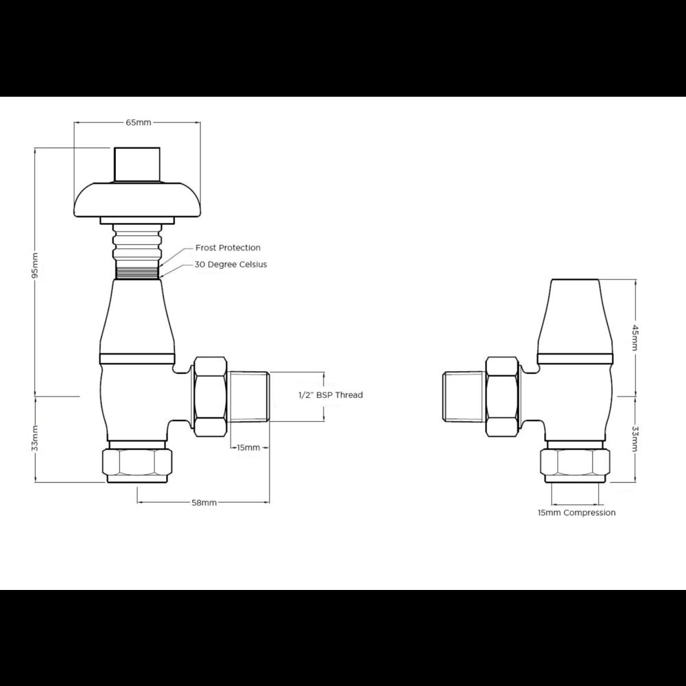 Arroll Thermostatische radiatorkraan met draaiknop UK-18