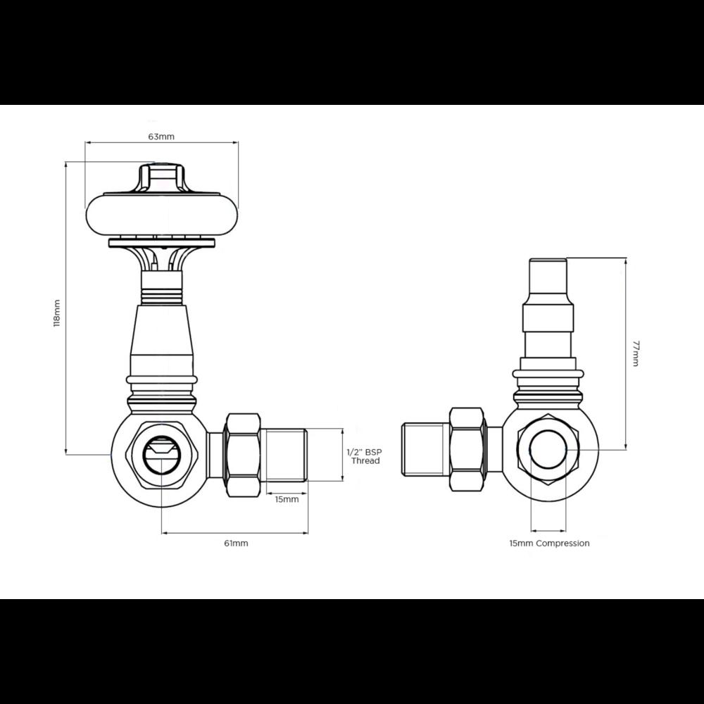 Arroll Thermostatische radiatorkraan met houten draaiknop UK-15
