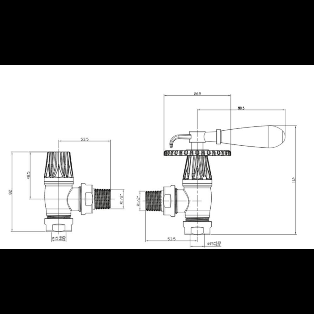 Arroll Manual radiator valve set Throttle with wooden handle UK-30