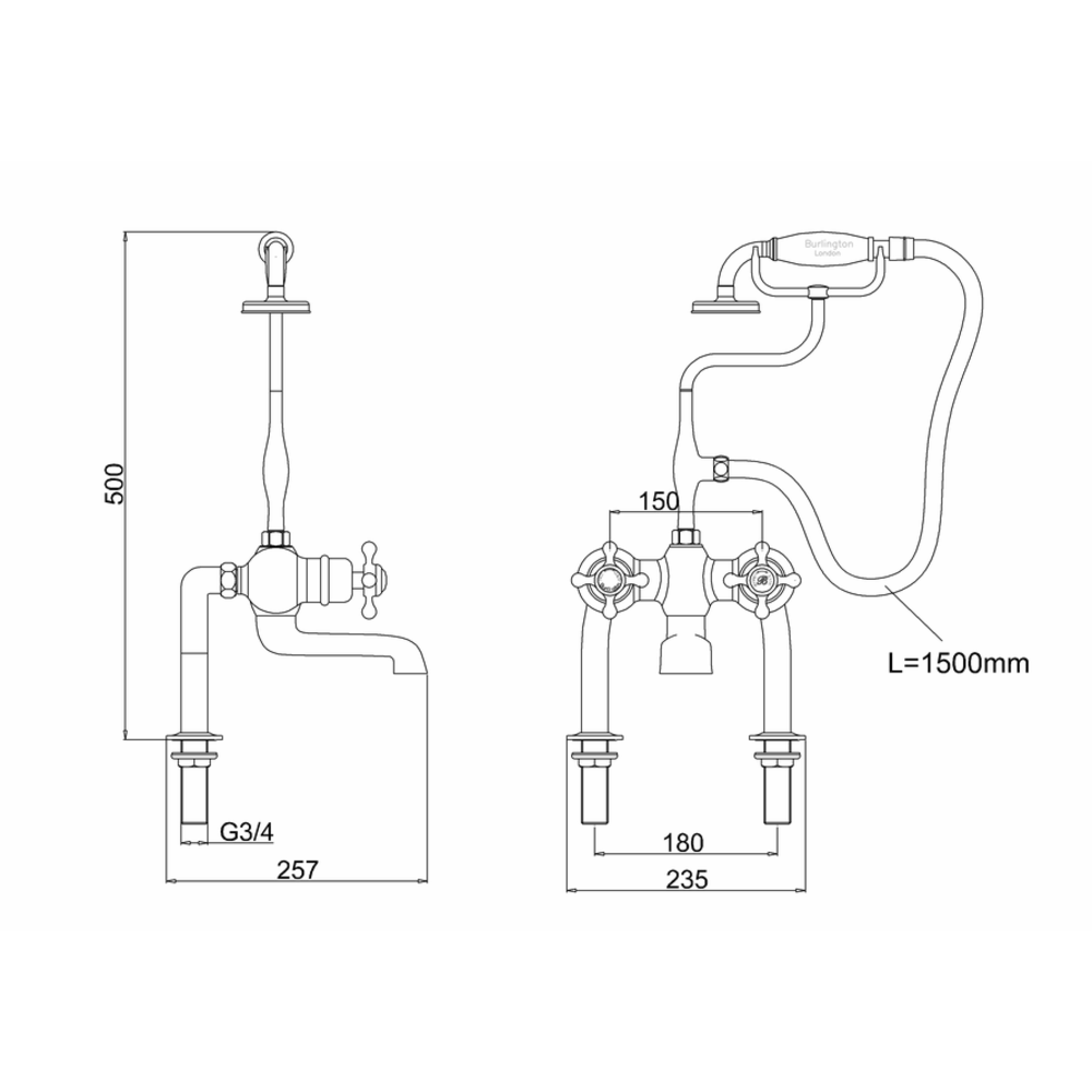 BB Edwardian Black Tay Black thermostatic bath shower mixer - deck mounted