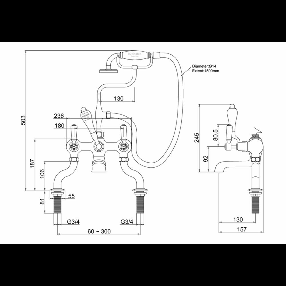 BB Edwardian Black Kensington Black bath shower mixer