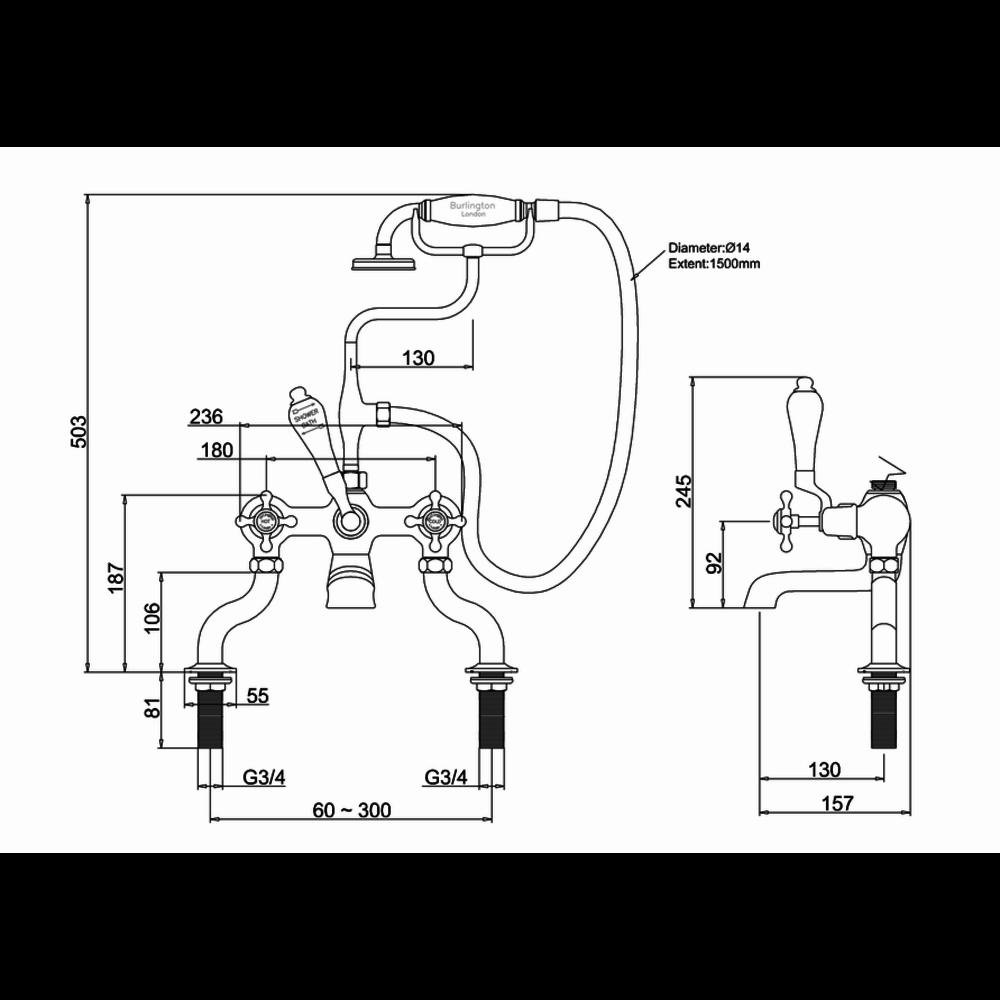 BB Edwardian Black Claremont Black bath shower mixer