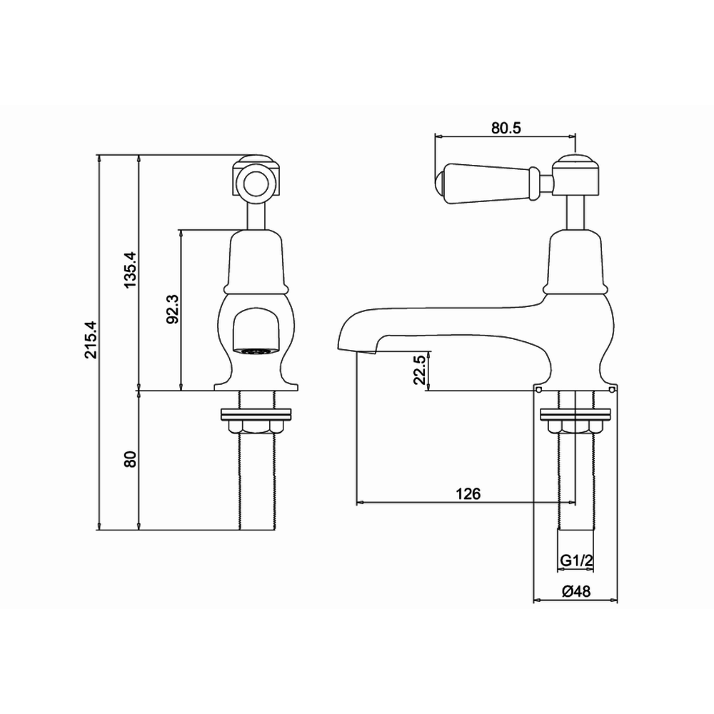 "BB Edwardian Black Kensington Black pillar taps (pair) with 5""-spout"