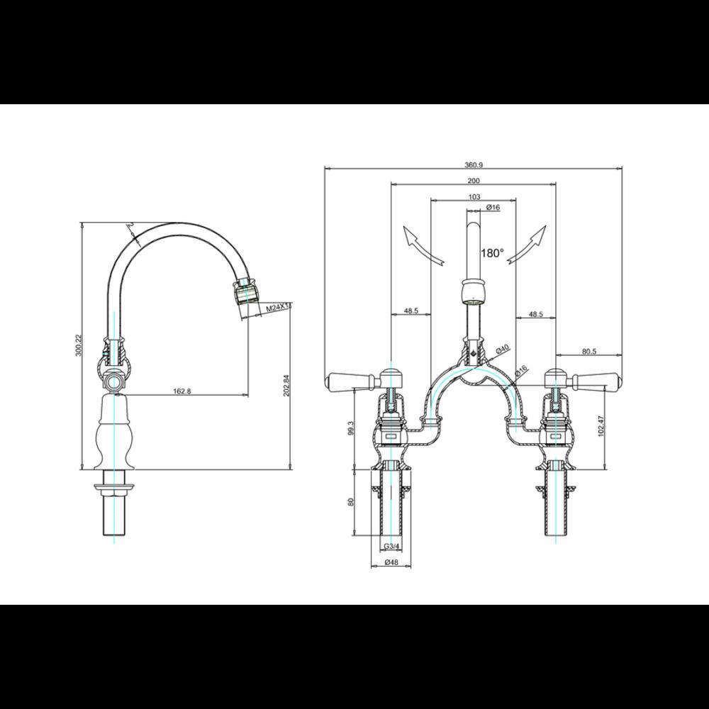 BB Edwardian Black Kensington Black Basin bridge mixer with black levers