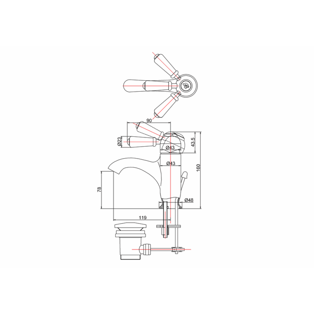 BB Edwardian Black Chelsea Black 1-hole basin mixer with pop-up waste
