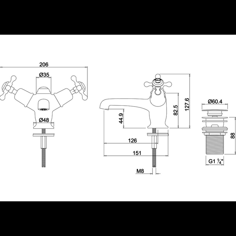 BB Edwardian Black Claremont Black 1-hole basin mixer with Click-Clack waste