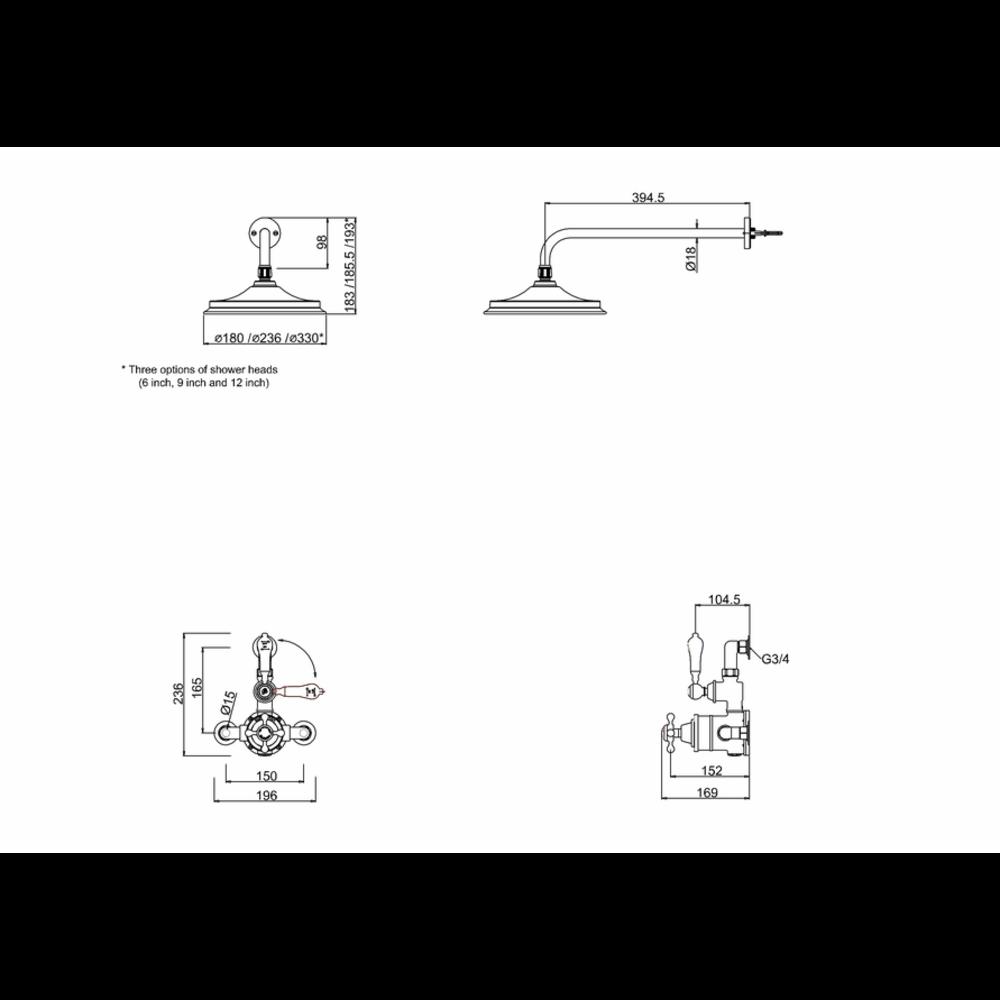 BB Edwardian Avon Opbouw doucheset met 1 stopkraan en regendouche