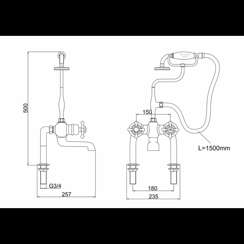 BB Edwardian Tay thermostatic bath shower mixer - deck mounted