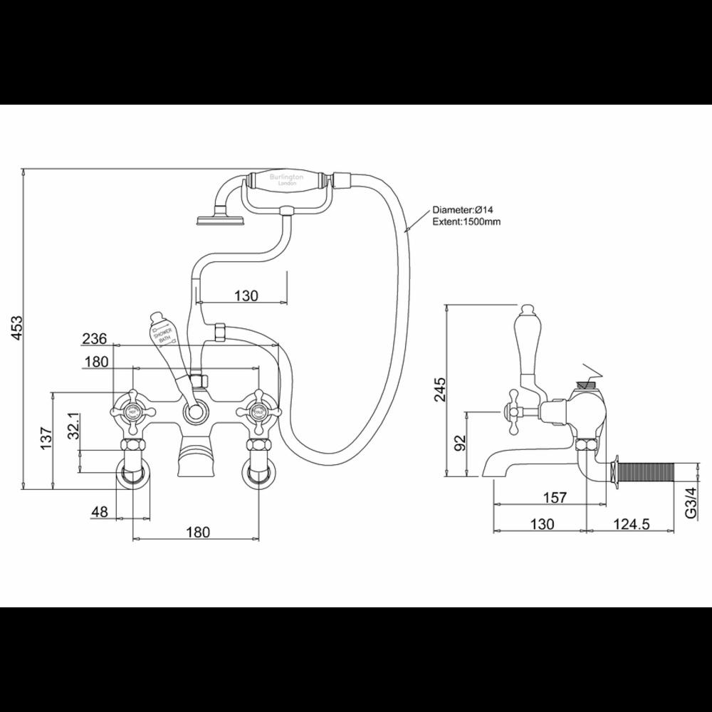 BB Edwardian Claremont badmengkraan met handdouche - wandbevestiging