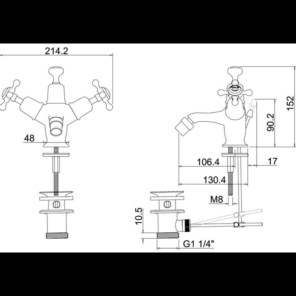 BB Edwardian Claremont 1-gats bidetkraan met pop-up