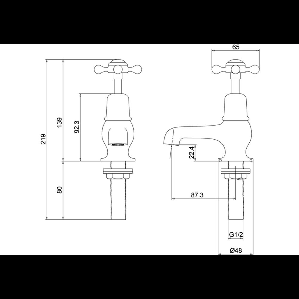 "BB Edwardian Claremont pillar taps (pair) with 3""-spout"