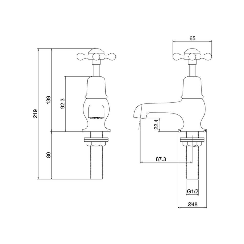 "BB Edwardian Claremont koudwaterkraan met korte uitloop 3"""