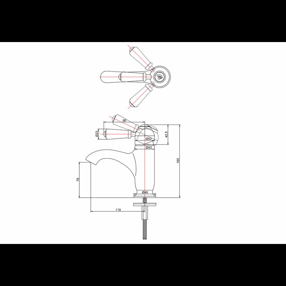 BB Edwardian Chelsea 1-hole basin mixer