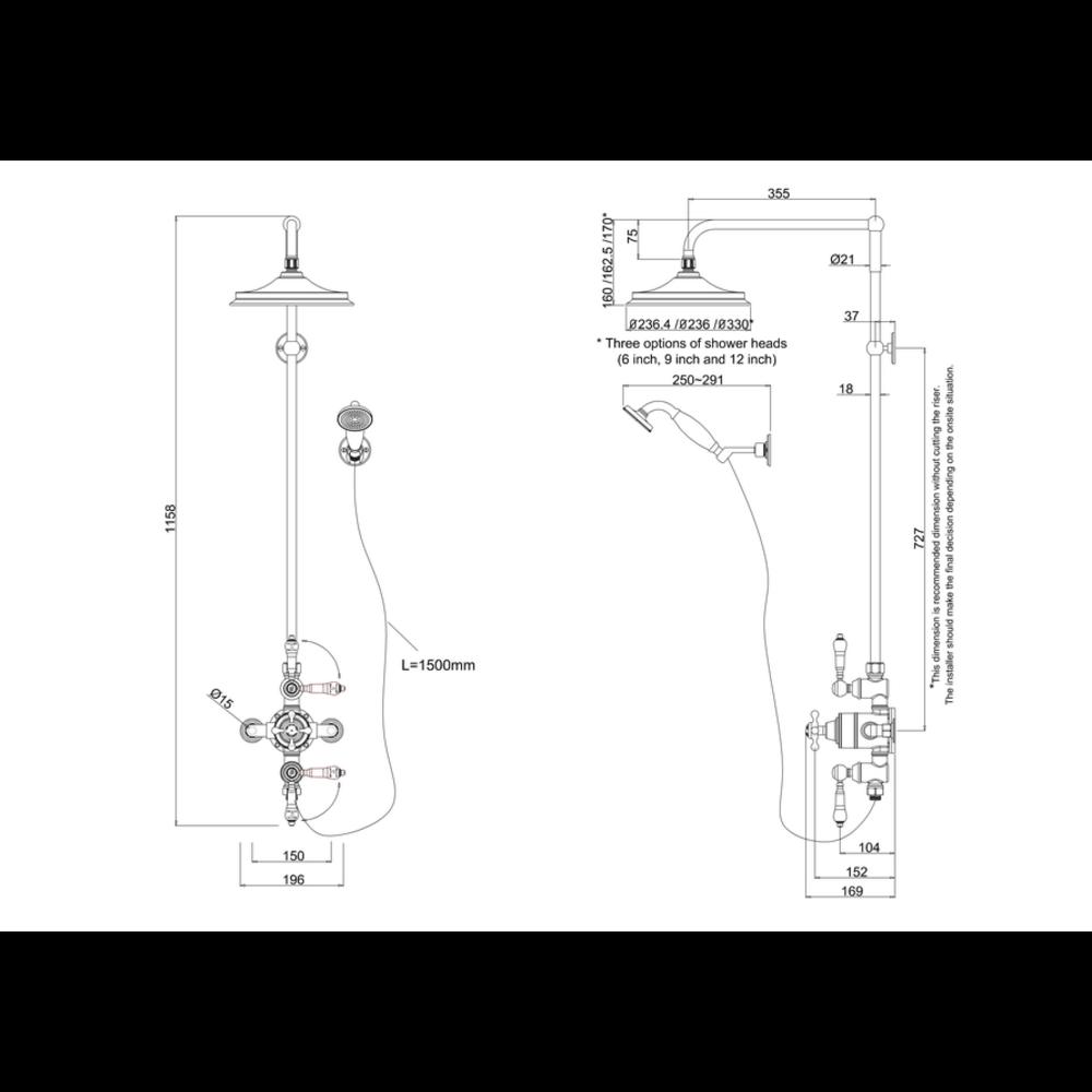 BB Edwardian Avon Opbouw doucheset, 2 stopkranen, regendouche en handdouche set
