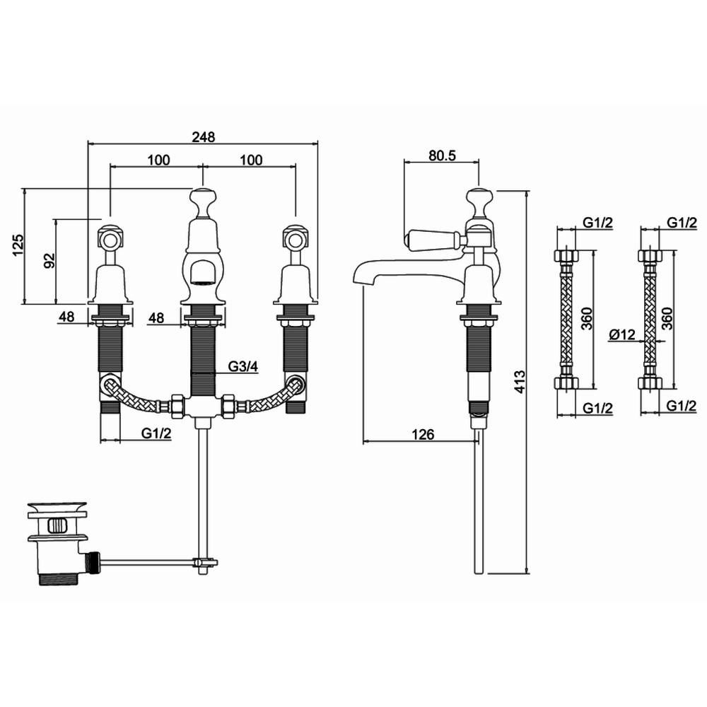 BB Edwardian Kensington 3-hole basin mixer with pop-up waste