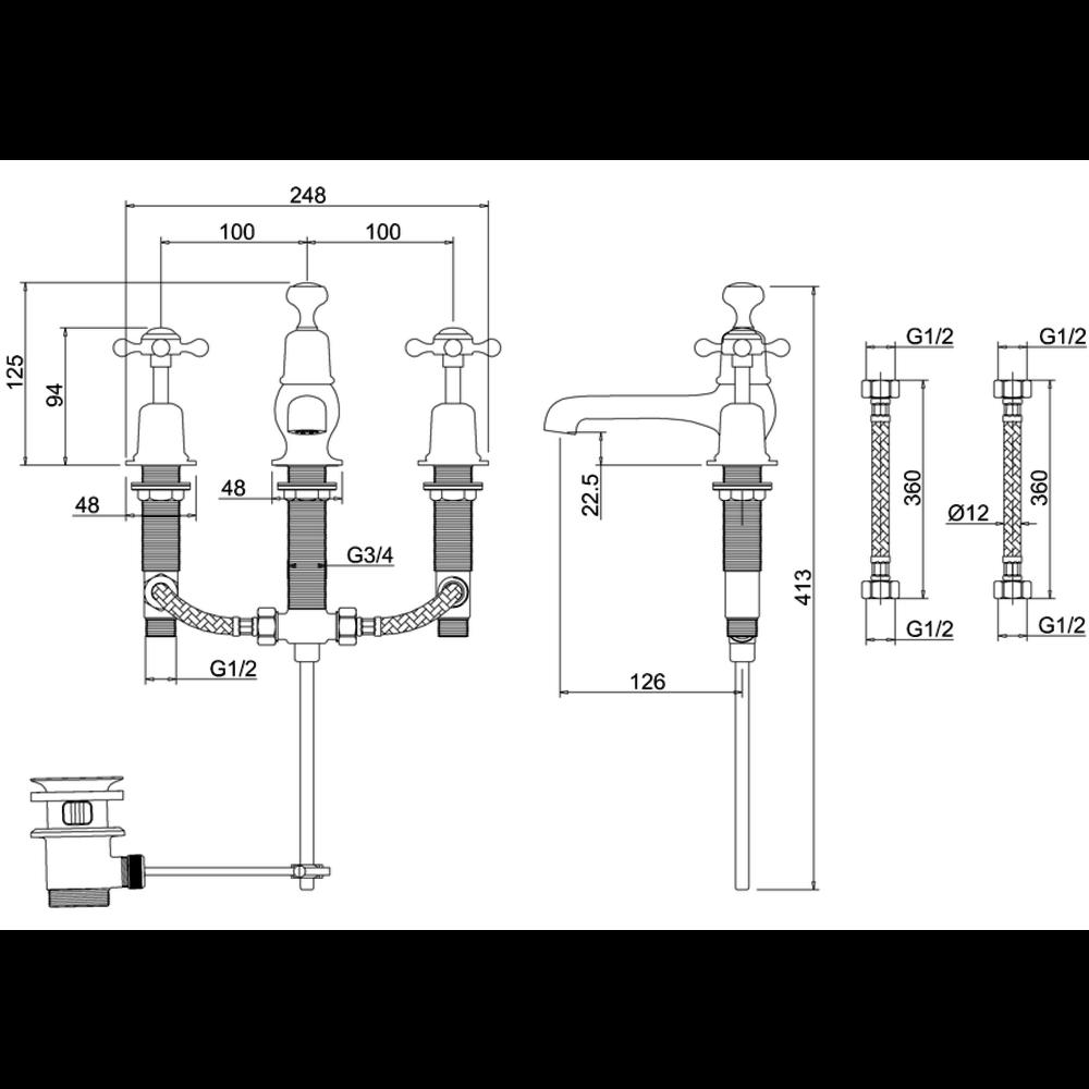 BB Edwardian Black Claremont Black 3-hole basin mixer with pop-up waste