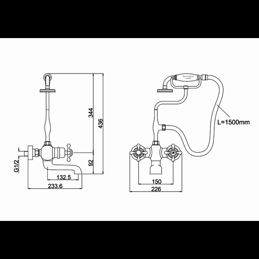 BB Edwardian Tay thermostatic bath shower mixer - wall mounted
