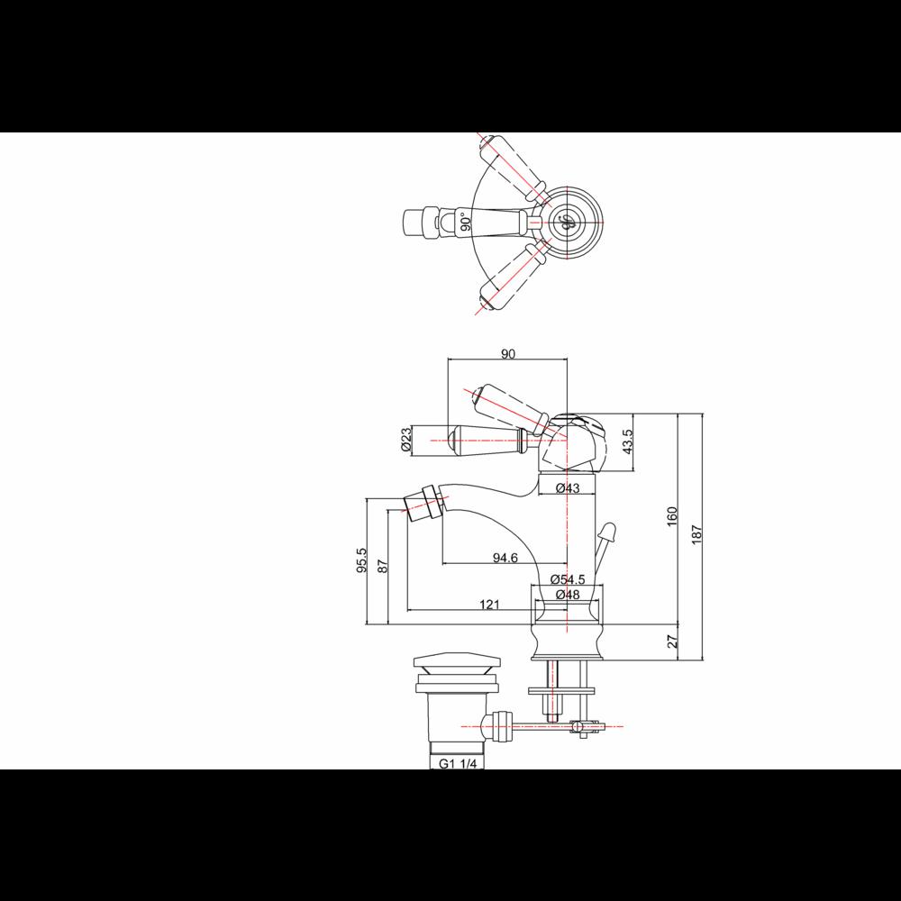 BB Edwardian Chelsea 1-hole bidet mixer with pop-up waste