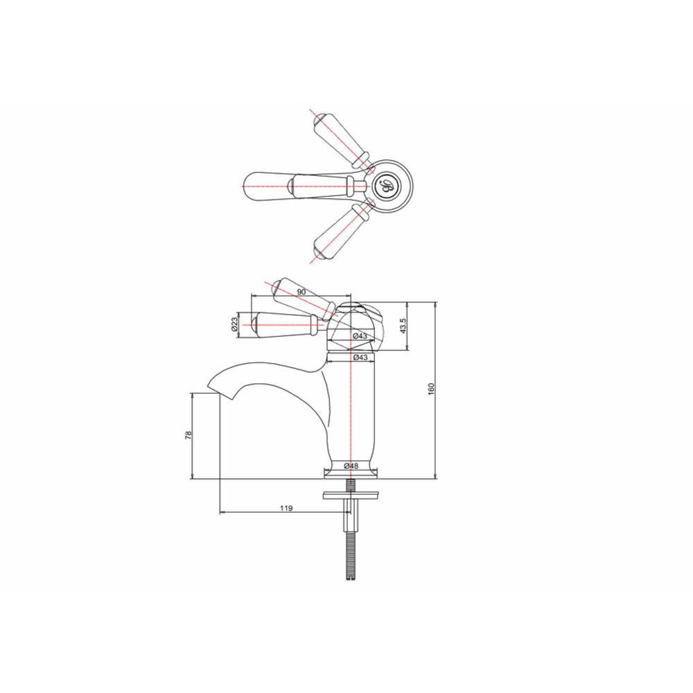 BB Edwardian Black Chelsea Black 1-hole basin mixer