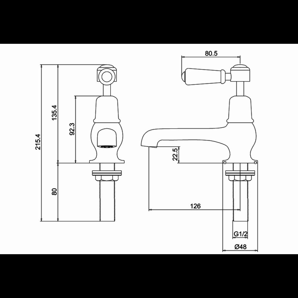 "BB Edwardian Kensington pillar taps (pair) with 5""-spout"