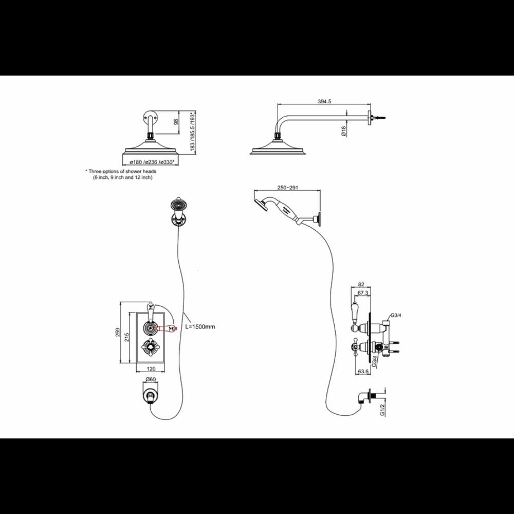 BB Edwardian Black Trent Black Inbouw doucheset met 1 stopkraan met douchekop en handdouche set